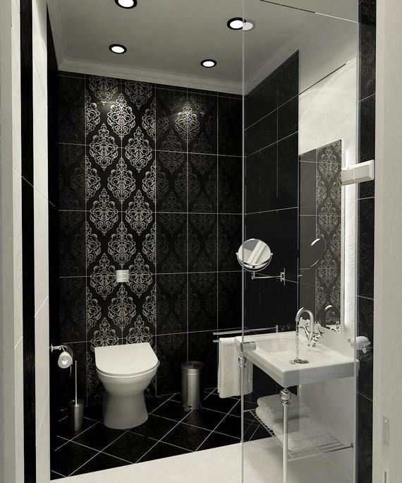 Плитка для ванной черно белая с узором
