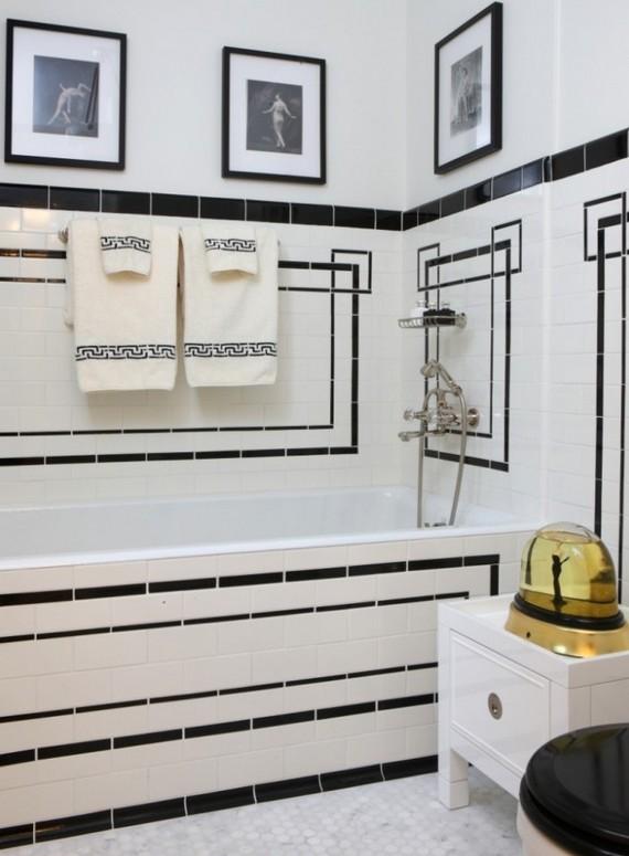 ванная в черно-белом цвете