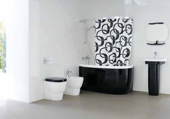 ванная в черно-белом стиле