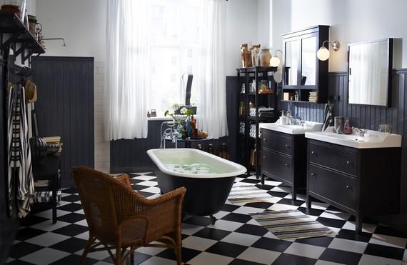 Плитка на пол в ванную черно-белая