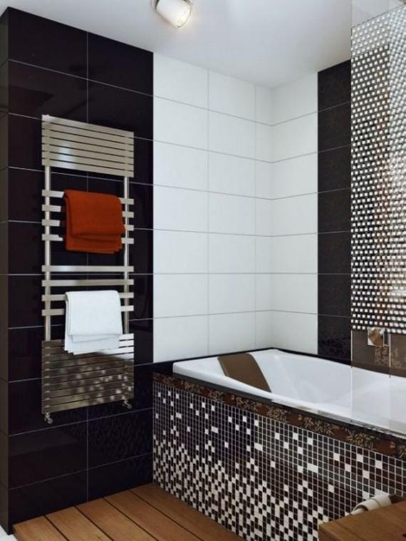Плитка мозаика в ванную черно-белая