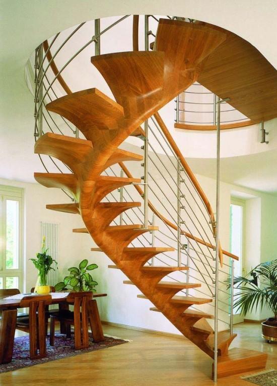 Дизайн деревянной винтовой лестницы