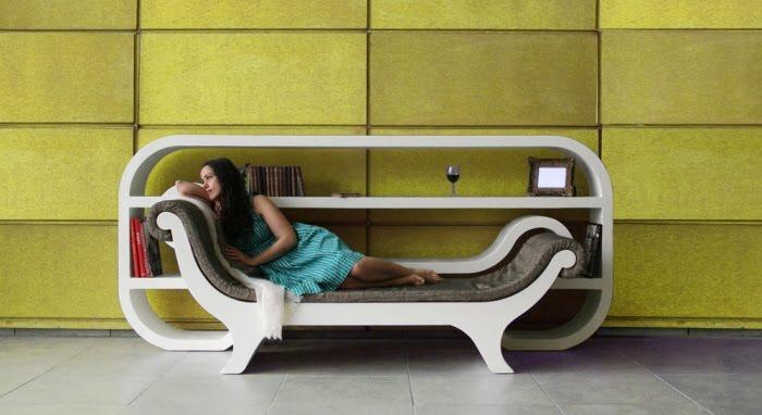 Книжные полки-диван для маленькой комнаты