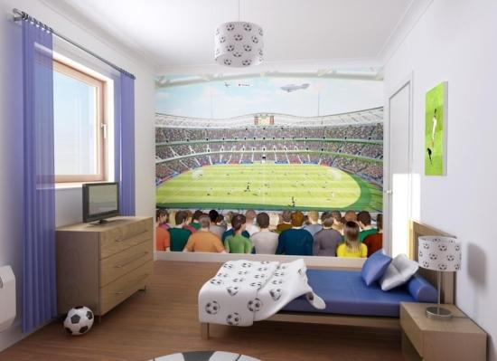 Футбольный дизайн детской комнаты для мальчиков