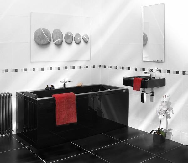 Черно белая ванна фото