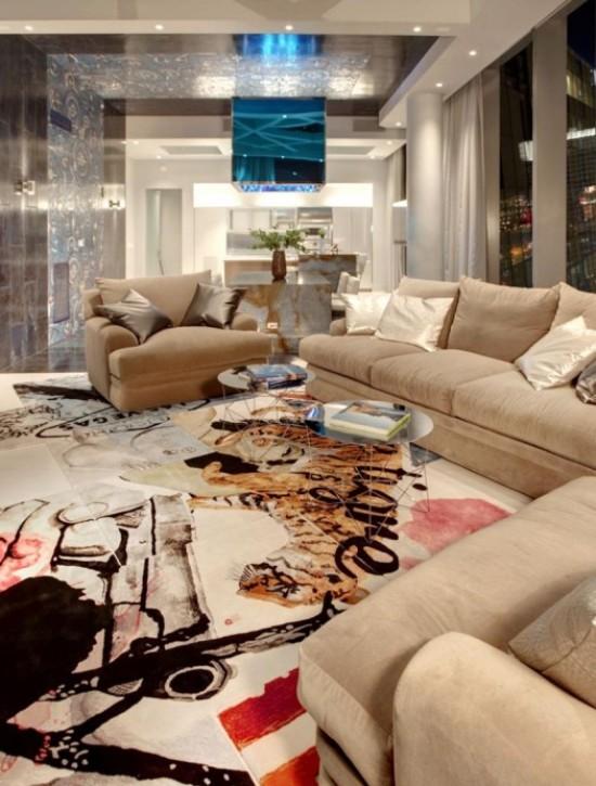 Мозаичные полы в гостиной