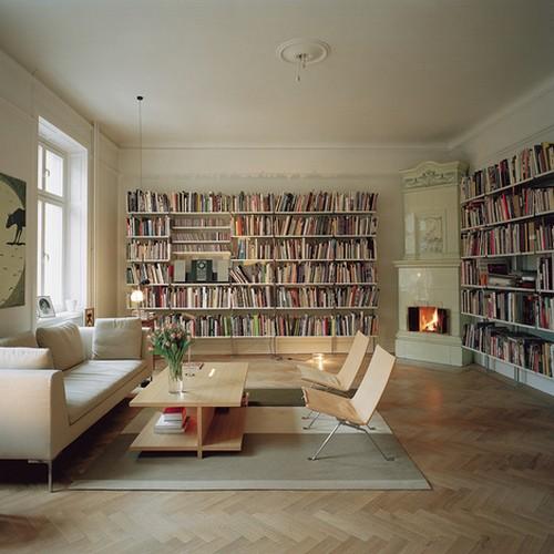 Интерьер библиотеки гостиной