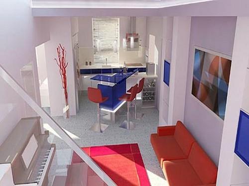 Бело-красно-синяя кухня
