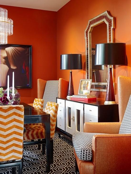 Оранжевый осенний интерьер