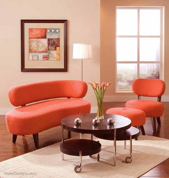 Гостиная в оранжевом цвете