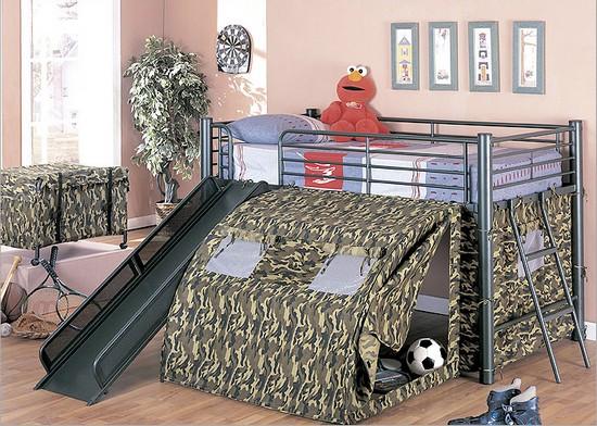 Кровать-чердак с горкой