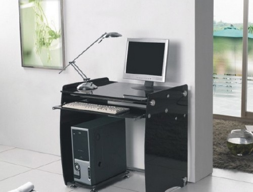 черный стеклянный компьютерный стол