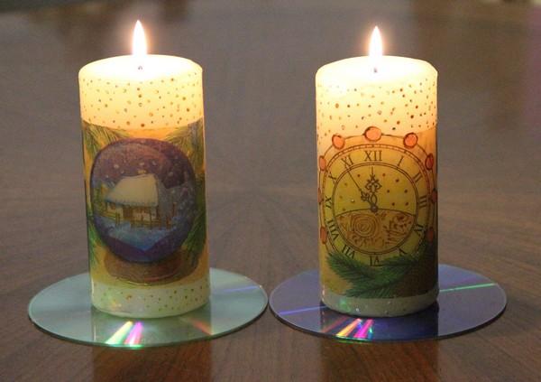 Декупаж свечей к Новому году 2012
