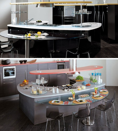 Кухни Снайдеро - полукруглые столы