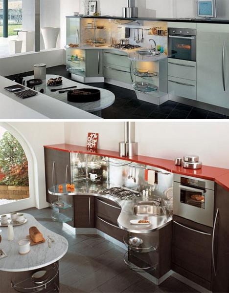 Полукруглые кухонные столы - кухни Snaidero