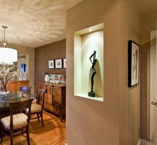 Дизайн однокомнатной квартиры с нишей - кухня и столовая в нише