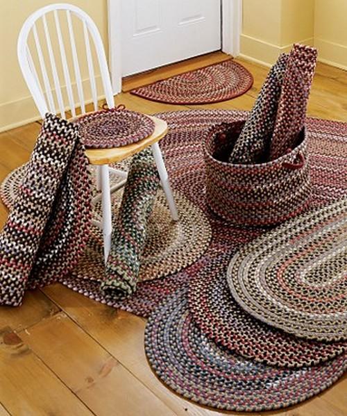 плетеные коврики из ткани