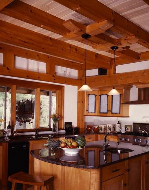 Интерьер кухни каркасного дома