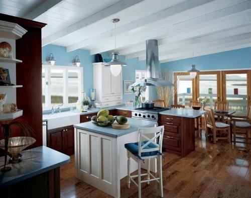 интерьер кухни в синем цвете