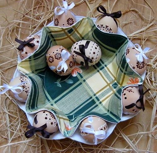 Пасхальный декор яйца в корзинке