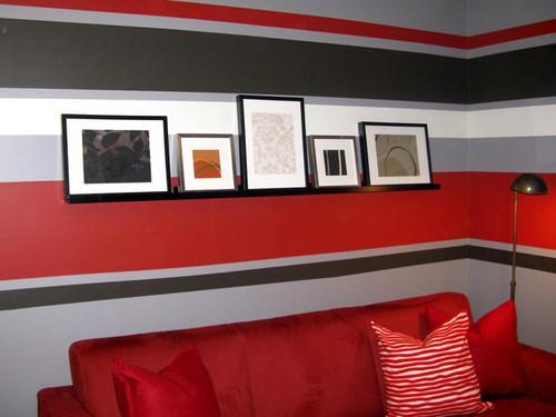 Покраска стен в горизонтальную полоску