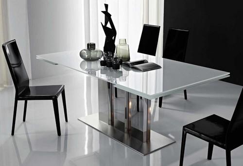 обеденный стеклянный раздвижной стол