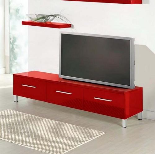 Тумба под телевизор красного цвета
