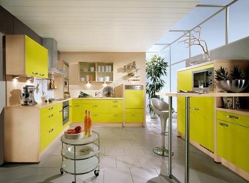 интерьер желтой кухни