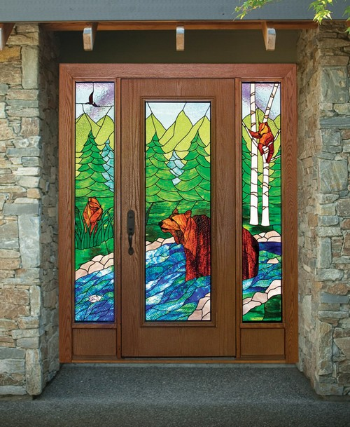 Входная дверь с витражом