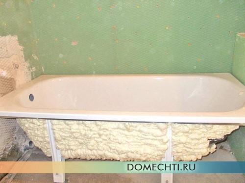 Утепление ванны монтажной пеной