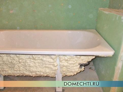 Утепление и звукоизоляция стальной ванны