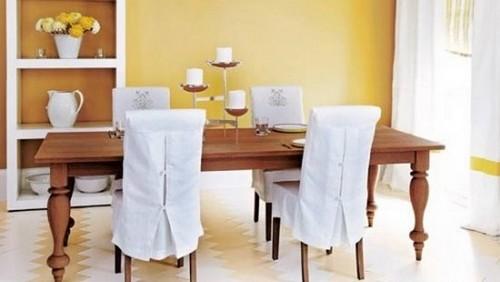 Желтые стены в интерьере кухни или столовой