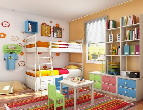 Книжные полки и столик - мебель аксессуары для детской комнаты