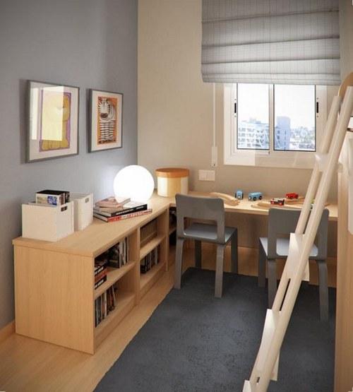 Интерьер детской для разнополых детей - учебная и спальная зоны