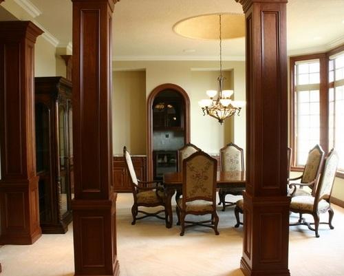 Деревянные колонны в интерьере фото