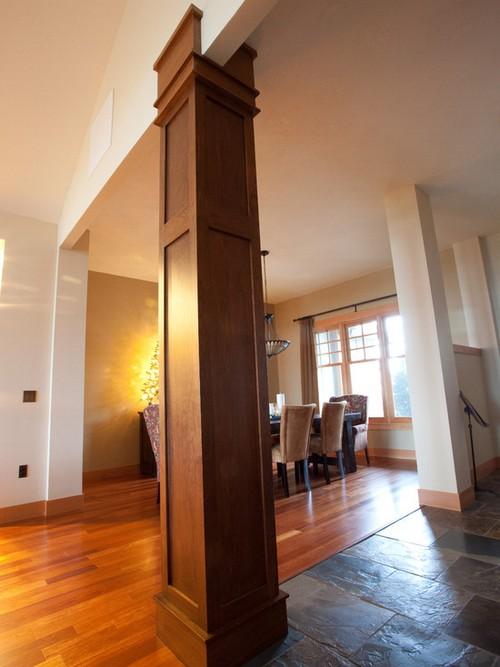 Деревянные столбы и колонны в современном интерьере
