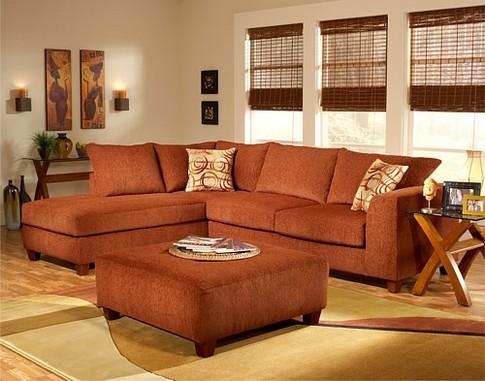 Угловой диван терракотовый