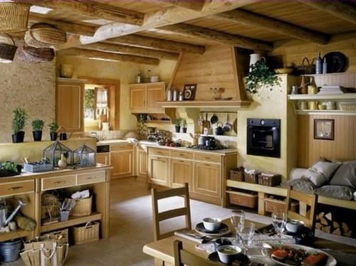 Потолочные декоративные балки в интерьере кухни