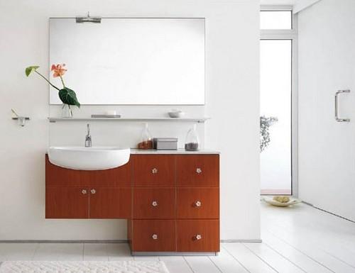 Подвесной Мойдодыр с зеркалом в ванную комнату