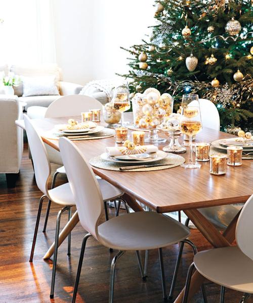 Праздничное оформление новогоднего стола фото