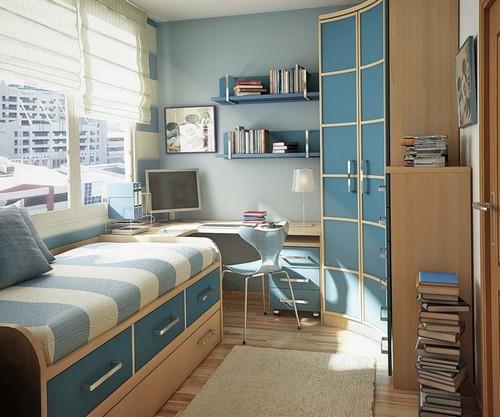 Сочетание бежевого и голубого в интерьере детской комнаты