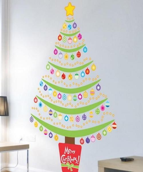 Новогоднее украшение детской комнаты - наклейки на стену
