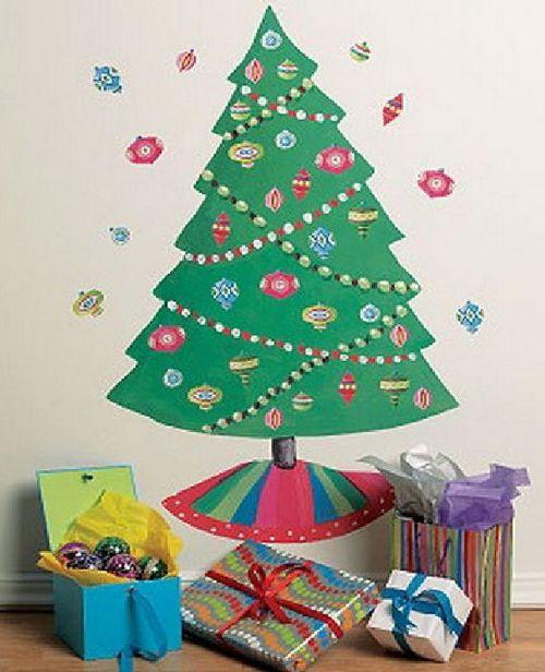 Новогодние наклейки на стену в детской комнате