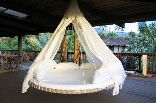 круглая кровать подвесная