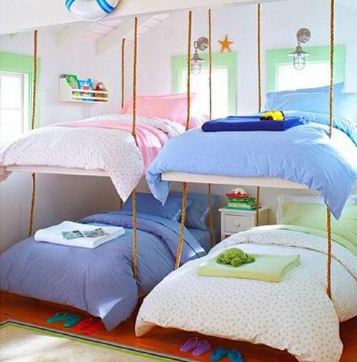 Двухъярусная детская подвесная кровать