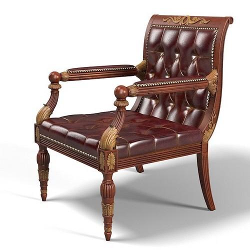 Резная мебель из дерева - стул с кожаной обивкой для кабинета