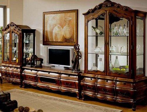 Мебель резная деревянная - стенка в гостиную