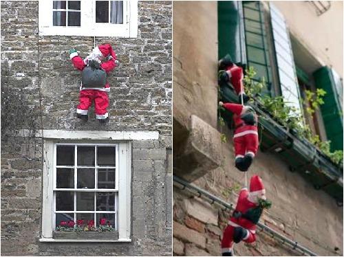 Санта Клаус залезающий на балкон - новогодний декор