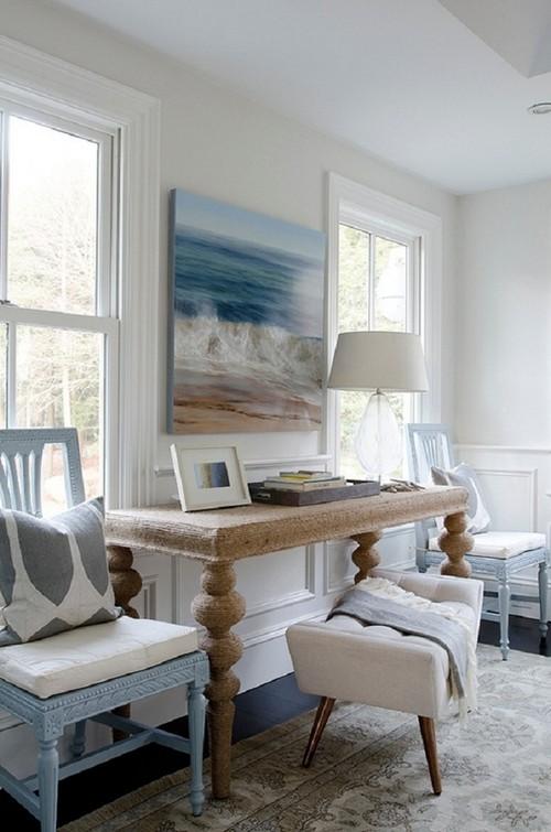 Столик, декорированный канатом