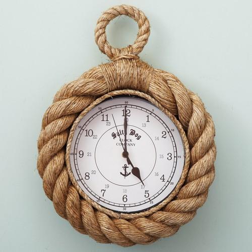 Настенные часы - канатный декор в интерьере